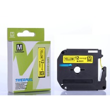 15pcs M-K631 MK-631 12mm Compatible MK631 MK 631 Label Tape for Brother Machines Black on Yellow label cassete