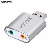 Vodool Aluminum Alloy Slim Virtual 3D stereo 7.1 Channel  USB Audio Sound Card Adapter with 3.5mm Aux Out Plug and Play FW1S