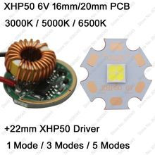 Cree XHP50 6V 6500K Cool White, 4500K Neutral White, 3000K Warm White LED Emitter + 22mm 1 Mode or 3 Modes or 5 Modes Driver