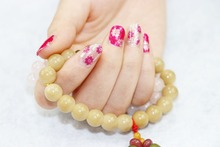 1 Set =  Nail Patch+Nail File +RED&WHITE Flower + Full Nail Sticker Nail Decorations for Manicure