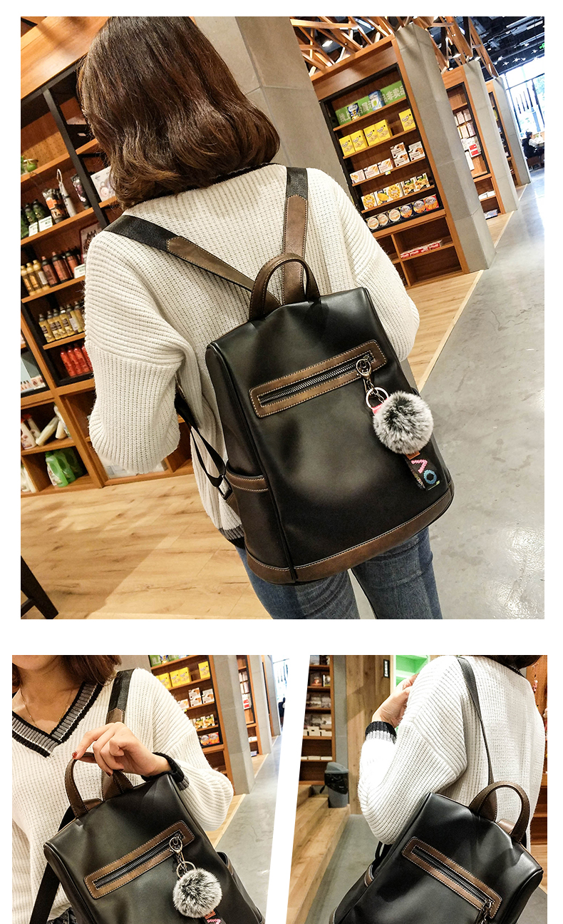 2018 New High-end Fashion Backpack Trend Simple Personality Fashion Campus Bag Large Capacity Bag Soft Leather Travel Backpack 42 Online shopping Bangladesh
