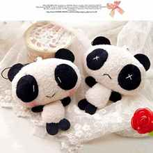 Lovely Mini Panda Soft Plush Doll Phone Bag Charm Keychain Key Chain Ring Pendant (1PC Only)(China)