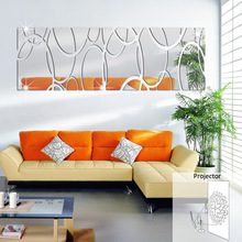 Acrylic 3D Decorative Mirror Decals Oblong Mirror Wall Sticker 32.67x11.02inch Silver Sofa Background Stiker for Living Room