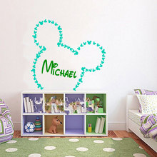 Mickey Mouse Personalized Nursery Name Cute Wall Decal Home Kids Bedroom Loving Special Decor Vinyl Sticker Kids Wall decalW-542