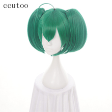 ccutoo 35cm Ranka Lee Green Short Straight Base Body Synthetic Hair Cosplay Wigs Chip Ponytails Heat Resistance Fiber(China)