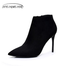 2017 women Winter ankle boots suede leathe point toe zipper sexy thin heel grey black short boot matte boots female shoes