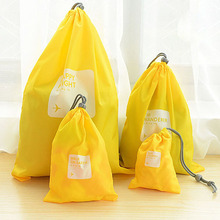 A Set of 4pcs Universal Outdoor Travel Waterproof Nylon Drawstring Storage Bags Pouches Organizers in Different Sizes (Yellow)(China)
