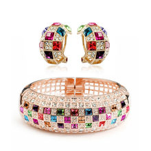 ZHOUYANG Top Quality ZYS074 Party Queen Rose Gold Color Jewelry Bangle Earring Set Rhinestone Made with Austrian Crystal Health