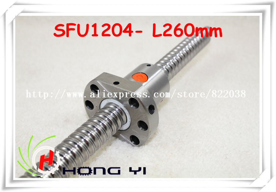 Ballscrew SFU1204  L = 260mm+ 1pcs Ballscrew Ballnut for CNC and BK/BF10 standard processing<br>