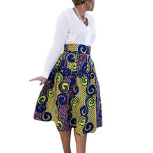 Women Fashion African Boho Totem Printed High Waist Skirts With Pockets Maxi Skirts(China)
