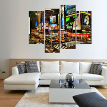 4 Picture Canvas Paintings New York's Times Square Wall Art Paintings Picture Print on Canvas For Home Hote Office Modern Decor(China)