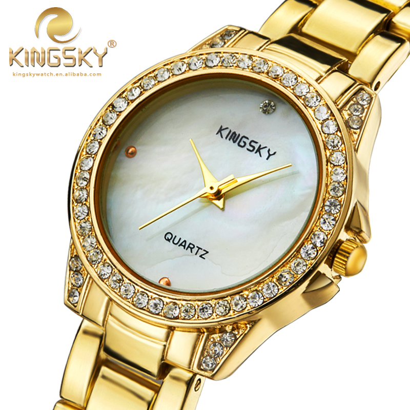 Luxury Ladies Wristwatches Famous Brand KINGSKY Rhinestone Case Gold Metal Strap Simple Design Women Watch with Box 2017 New<br>