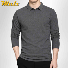 5Colors Muls 100% cotton polo men 2016 NEW ARRIVAL long sleeve simple style casual mens polos Black Navy Gray White M-3XL 7171