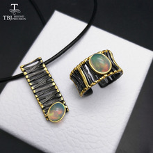 TBJ,Men's Jewelry set pendant with leather chord and ring with ethiopian opal ov7*9 ,best fashion gift for men boyfriend husband(China)
