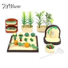 KiWarm Plastic Handmade Miniature DollHouse Furniture Gardening Vegetables Outdoor Accessory Set DIY Ornaments