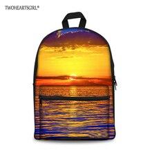 82f6e2c7a3 TWOHEARTSGIRL Sunset Scenery Designer Kid School Bag Teen Girl Schoolbag  Female Lightweight Book Bag with Two