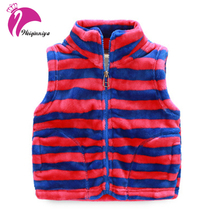 Boy's Vest Fleece Zipper Sleeveless Jackets Kids Striped Clothes Boys Warming Vest Coat Children Casual Cotton Waistcoat Clothes(China)