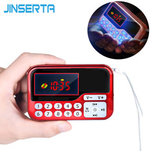 JINSERTA Portable Mini FM Radio Speaker Music Player TF Card USB For PC Phone with LED Display Multimedia MP3 Music Loudspeaker(China)