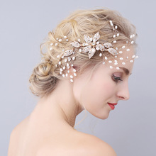fashion new bride headdress gold hair comb inlaid leaves Europe hair comb wedding hair jewelry
