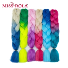 Miss Rola Ombre Braiding Hair Expressions 24'' 100g Synthetic Crochet Braids Hair 2 Tone 1Pc Heat Resistant Braiding Hair Bundle(China)