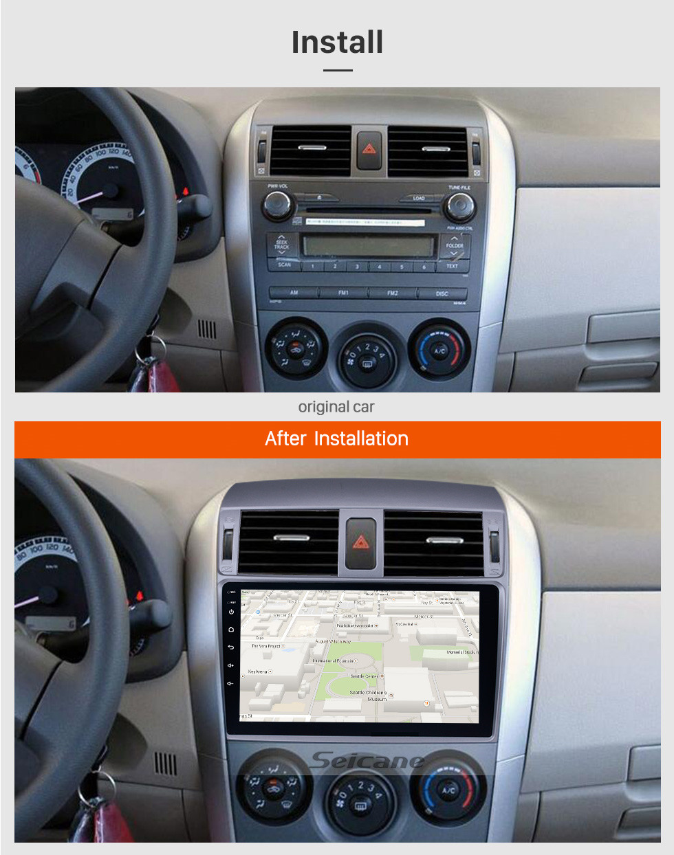 Seicane Android 6.0 9 inch 2Din Car Radio WIFI Bluetooth Quad Core Multimedia Player For 07 08 09 10 Toyota OLD Corolla 4