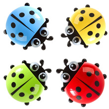 2017 Best Sell  Suction Cup 1 Pcs Lovely Ladybug Cartoon Suction Bathroom Accessories Products Wall Mounted Toothbrush Holder
