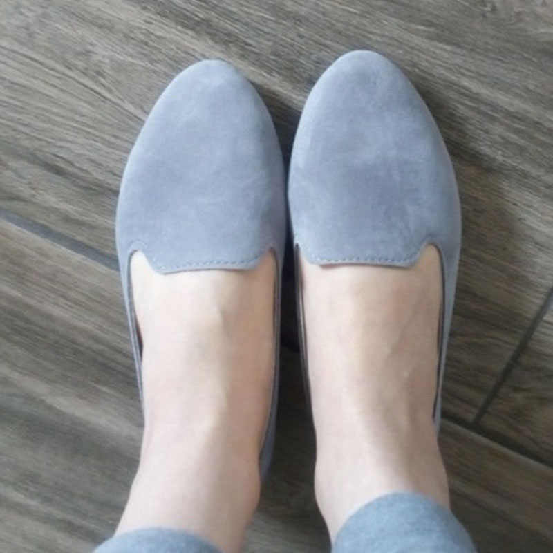 7b18f796876 Women Slip On Candy Color Flat Autumn Loafers Plus Size Female Comfort  Flock Pointed Toe Fashion