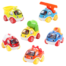 Kawaii Mini Cartoon Pull back Car Baby Toy Gift Ladder Truck Crane Trailer Toys for Boys(China)