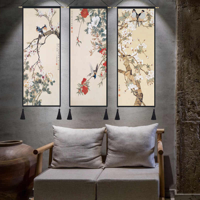 Chinese style lucky Feng Shui paintings cloth frame painting ...