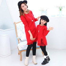 Family Christmas Dresses Family Matching Clothes Red Mother and Daughter DressClothes Mama Mom Girls Sweaters Dress Family Set(China)