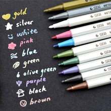 1pc Small Fresh Metal Ink Watercolor Pen Soft Pen Metal Album DIY Color Soft Brush Pen Painted&Graffiti Black Paper(China)