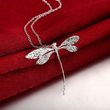 Buy Big Dragonfly Pendants 925 stamped silver plated necklaces Colar de Prata 20'' snake chains woman's Valentine's Day Gift for $2.54 in AliExpress store