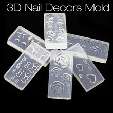 New 3D Nail Art Stamping Decoration Mold 6 Style Cute Design 3D Nail Stickers Silicone Mould DIY Nail Art Manicure Tools 2017
