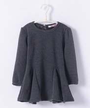 Kids street fashion thicken girls warm cotton dress wine red black woolen little girls grey smock t shirt dress winter 2016