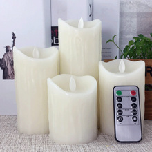 Tear drips pillar LED wax candle with 10 key timer remote, Dancing Flame led light for party event decoration/led night light(China)