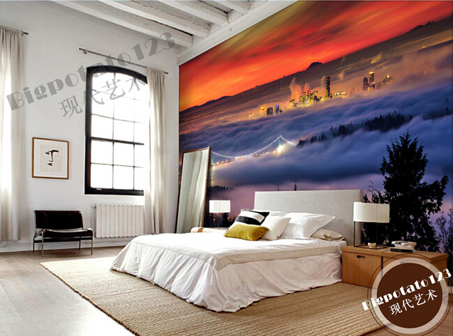Custom photo wallpaper, the Vancouver bridge mural for fog forest bedroom TV background wall fabric wallpaper<br>
