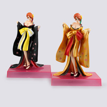 Some tours Anime One Piece Chromic Kimono Kabuki Black Cloak Special Buy Gold Nami PVC Figure Collection Toy(China)