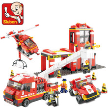 Sluban 2017 New 0227 NEW City series Fire Department Emergency Fire Engine Helicopter Set Building Block minis boy gift Toy(China)