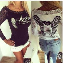 NFIVE Brand 2017 Angel Wings Heart-shaped T Stamp Lace Stitching Female Tshirt All-match Long Sleeved T-shirt Women T Shirt