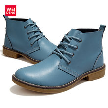 WeiDeng 4 Color Fashion Women Winte Lace up Genuine Leather Classic Shoe High Style Flat Brand Casual Shoes Boots 2016(China)