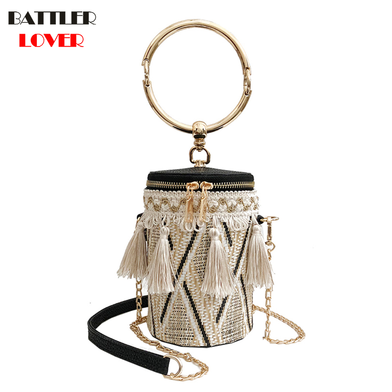 2018 Japan Style Bucket Cylindrical Straw Bags Barrel-Shaped Woven Women Crossbody Bags Metal Handle Shoulder Tote Bag Ladies