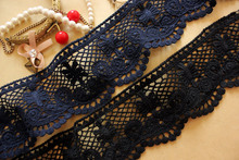 3 Yard/Lot Navy blue black 100% cotton lace fabric Hollow out water-soluble skirt clothes lace trim decoration diy 7cm SM063(China)