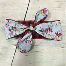 Vintage Floral Baby Bow Headband Turban Top Knot Baby Head wraps Plaid DIY Bow Newborn Headband Toddler Hair Acessory