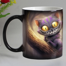 Free shipping smile cat animal Heat sensitive Coffee mug cup Porcelain Magic Color changing Tea Cups christmas gift(China)