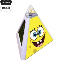 SpongeBob SquarePants LED Alarm Clock pyramid Digital clock reloj despertador Watch thermometer electronic desk clock For Kids(China)