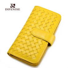 Difenise 100% Real Sheepskin Genuine Leather Brand Card Holders Handmade Knitting Women Hasp Card Purse With Gift Retail BOX