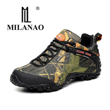 MILANAO men outdoor waterproof canvas hiking shoes , low Anti skid Wear resistant breathable fish climbing hiking boots