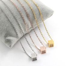 2017 New Design Chinese Character Good Luck Square Crystal Necklace Kanji Fob Pendant With Chain Necklaces For Women Gift