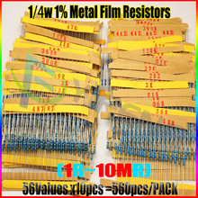 NEW 560pcs 56 Values 1/4W 1% Metal Film Resistors Assorted Kit Set 1 ohm ~ 10M ohm