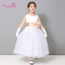 Bridesmaid Curl White Princess Girl Dress Baby Girl Dress Children Girls Clothing